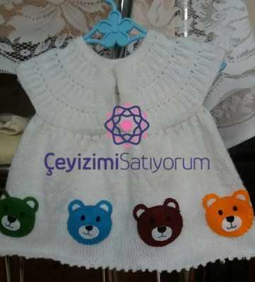 Ayicikli bebek elbisesi istenilen renkte yapilir
